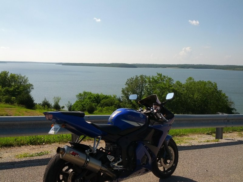 Motorcycle at the lake